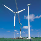 Image:  Assembly of a wind turbine in an arable field