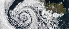 Image:  Satellite photo of a gigantic low pressure system